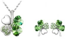 Four-Leaf Clover Necklace and Earrings Set